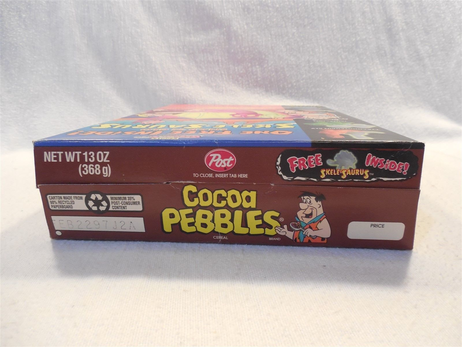 Flintstones 1996 Post Cocoa Pebbles Cereal Box Skele-Saurus Dinosaur Premium