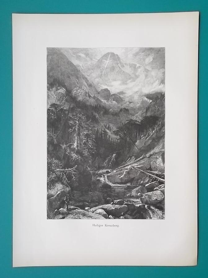 COLORADO Rockies Holy Cross Mountain by Thomas Moran - 1883 German Print