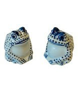Frog Salt and Pepper Shakers Porcelain Blue and White - $33.76