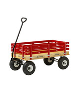 HEAVY DUTY RED WAGON 40x22 Bed Solid Steel Quality Cart Made in the USA - $313.57