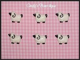 Sheep Hair Bow Centers Make Earrings Charm Black White 6 Resin Flat Back - $3.90