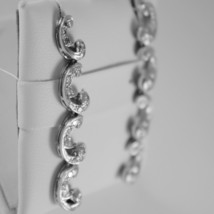 18K WHITE GOLD PENDANT CURVE EARRINGS DIAMOND DIAMONDS .70 CARATS MADE IN ITALY image 2