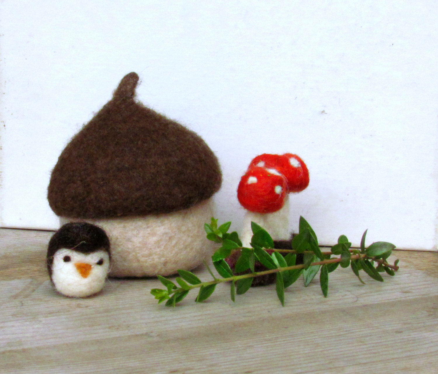 Felt acorn / owl and toadstool felted miniarures /Eco friendly toy/ waldorf toys