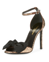 New YSL SAINT LAURENT Size 9 JANE Glitter Bow Heels Sandals Shoes 39 1/2... - $398.00