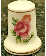 Vintage Floral Pink Roses Fine Bone China Thimble - Japan   - $4.99