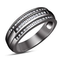 Mens Wedding Engagement Diamond Pinky Ring Band 14k Black Gold Finish 925 Silver - $93.99