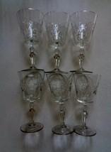 """Lot Of 6 Wine Glasses Diamond Line Cut Stems Star Of David Foot 7"""" x 3 1/4"""" - $41.79"""