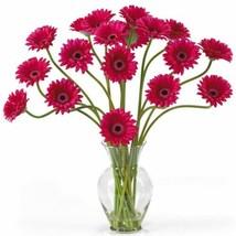 "Luxury Beauty Gerber Daisy Liquid Illusion Faux Silk Flower Arrangement - 21"" - $91.77"