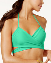 NEW Sundazed Aqua Solid Simone Halter Wrap Underwire Bikini Swim Top siz... - $9.41