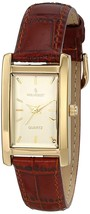 Peugeot Women's Classy 14K Gold Plated H Rectangle Case Leather Band Dress Watch - £63.05 GBP - £67.52 GBP