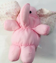 "Vintage Dakin Puff Elephant Pink Baby Rattle Plush Toy Soft Fluffy Clean 1987 7"" - $20.48"