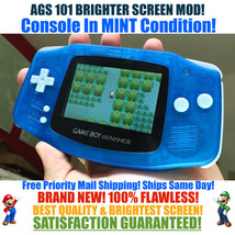 Nintendo Game Boy Advance GBA Blue Glow System AGS 101 Brighter Backlit Mod - $123.70