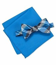 Alfani Mens Walsh Neat Plaid Neck Tie Set royal Short - $30.24