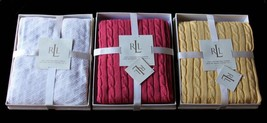 Ralph Lauren Cable Or Diamond Knit Red or Off-White Throw Blanket 50 x 7... - $69.99