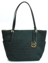 Michael Kors Jet Set Black Signature Jacquard Shopper Tote / Shoulder Ba... - $179.00