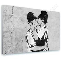 CANVAS (Rolled) Cops Kissing Banksy Paintings Canvas For Home Decor Wall... - $8.69+