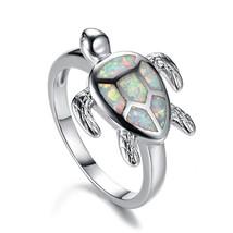 Hermosa  Australian Opal Sea Turtle Design Romantic Band Ring Size 6 7 8... - $56.88