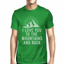 Mountain And Back Men's Green Cotton Tee Unique Graphic T Shirt - $15.42