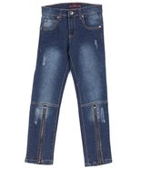 Girls ankle blue Jeans with zippers - $15.75