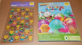 Easter Egg Decorating Kit Dudley's Tie Dye & Glitzy Stickers Chicks 50 E... - $4.49