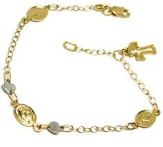 Pulsera Oro Amarillo Blanco 18K 750 , Cruz, Medalla Milagrosa, Corazón, ... - $364.67