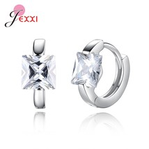 Small Round Shape Hoop Earrings For Women/Girls 925 Sterling Silver Square AAAA  - $7.79