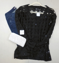 Black Sequin Sweater, Black Sequin Sweaters, Loose Knit Sweater, GeeGee, Womens image 7