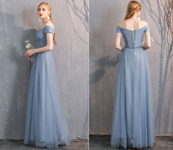 Maxi Bridesmaid Dress Tulle Bridesmaid Dresses with Sleeves Dusty Blue Burgundy image 7