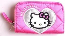 Hello Kitty 11.4cm x 7.6cm Rosa Plata Corazón con Cremallera Monedero Nuevo