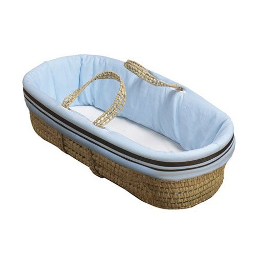 Baby Doll Bedding Hotel Style Moses Basket, Blue