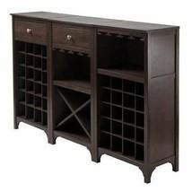 NEW Dry Bar Storage Modular Server Wine Rack Wooden Liquor Cabinet Top E... - $122.66+
