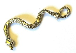 DANGLING CURLY SNAKE FINE PEWTER CHARM PENDANT - ~1 3/8 inches tall  (T221) image 2