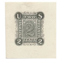 RN-A1 2c Revenue Stamped Paper Die Proof Type A, black on stiff white wo... - $379.00