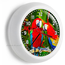 Tropical Macaw Parrots Love Birds Wall Clock Kitchen Dining Bedroom Home Decor - $23.37