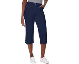 Karen Scott Cotton Button-Cuff Tummy Control Capri Pants, Navy NWT 8 - $9.68
