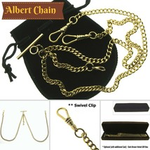 GOLD Plated Double Albert Chain Pocket Watch Chain T Bar Lobster + Swive... - $20.99
