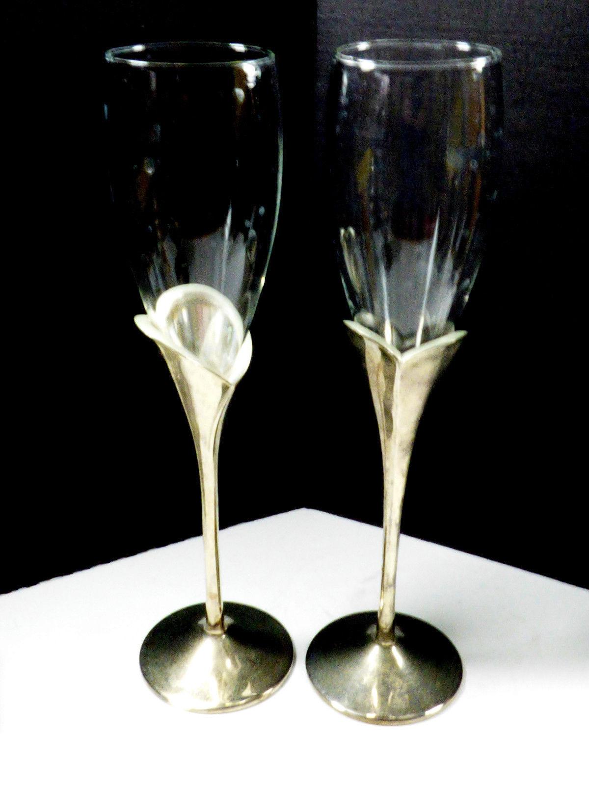 2 LENOX Crystal Champagne Flute Wedding Anniversary Silverplate Stems Heart