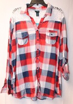 New Womens Plus Size 3X Red Buffalo Plaid Button Up Shirt W Cool Upper Lace Back - $19.34