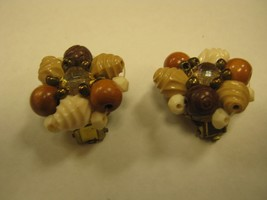 CLIP EARRING marked W GERMANY brown tan & white shells beads & seeds - $2.96