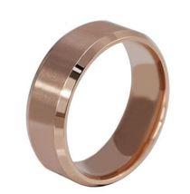 USA Women 8MM Rose Gold Tungsten Carbide Beveled Edges Promise Wedding R... - $249,42 MXN