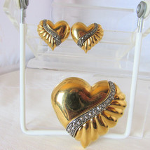 1980s Vintage Marcasite Puffy Hearts Brooch Pin Earring Set Heavy Gold P... - $18.00