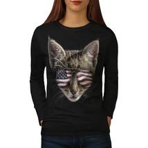 Cat Flag Tee Glasses Head USA Women Long Sleeve T-shirt - $14.99