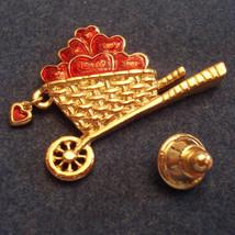 Avon Garden of Love Scatter Pin Gold Plated Wheelbarrow Lapel Brooch ✿ VTG 1990s - $19.76