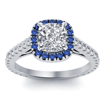 Engagement Ring Cushion Cut White CZ With Blue Sapphire White Gold Fn.92... - $64.99