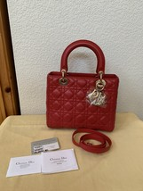 AUTH Christian Dior Lady Dior Medium RED Cannage Lambskin Tote Bag GHW