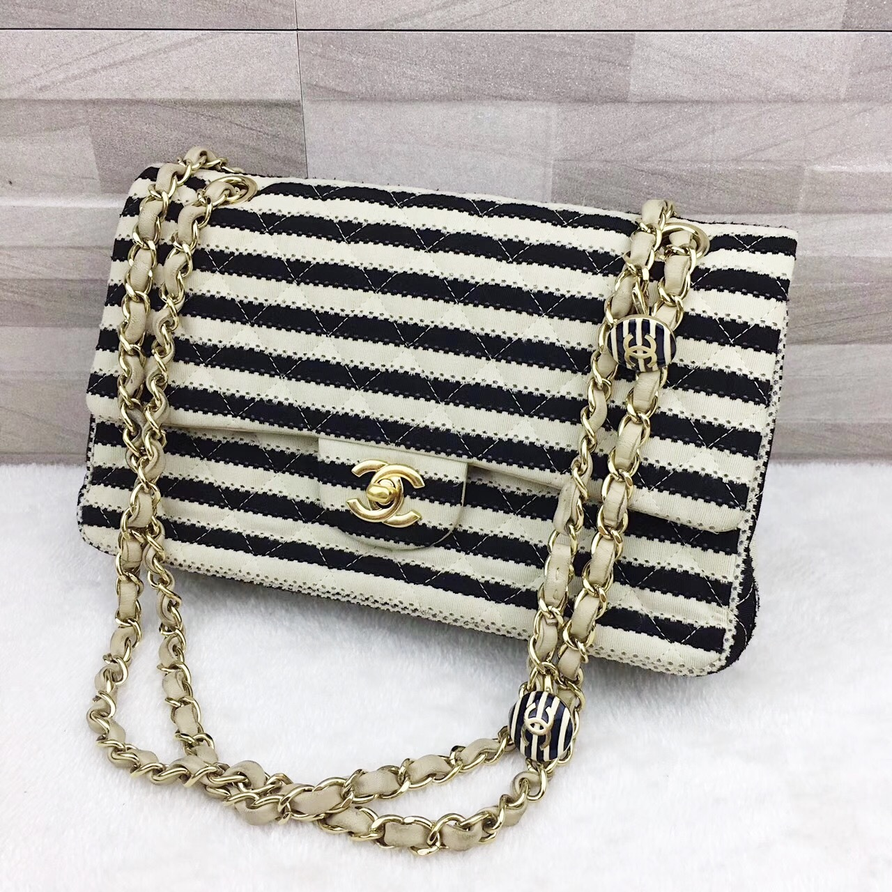 AUTHENTIC CHANEL LIMITED EDITION BLACK CREME STRIPED SAILOR JERSEY FLAP BAG GHW