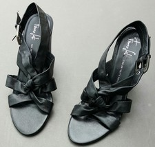 Franco Sarto Hydra Ankle Strap Black Leather Sandal #36697001 High Heel Shoes 10 - $46.55