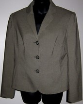 Sz 8 Boyfriend Blazer Evan Picone Stretch 3 Button Pine Green Houndstoot... - $69.29