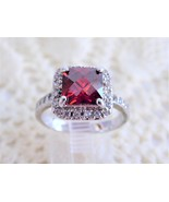 Red Faux Ruby Ring Emerald Cut Dinner Faux Diamonds 1990s Party Fancy Fa... - $48.00