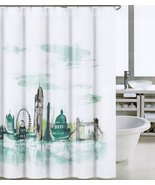 Tahari London Teal Gray White Shower Curtain - $28.00